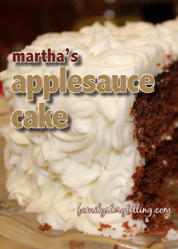 family storytelling applesauce cake recipe