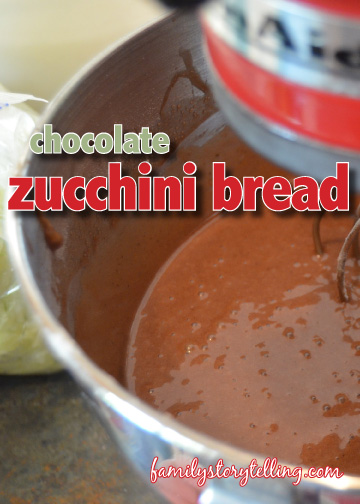 family storytelling chocolate zucchini bread mixing
