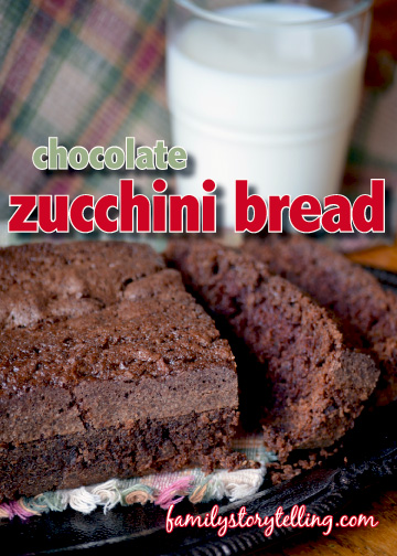 family storytelling chocolate zucchini bread with milk